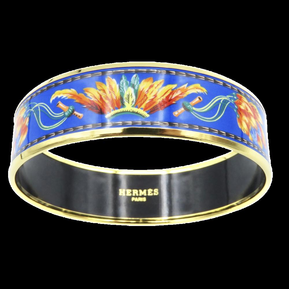 Bracelet Hermes en émail Imprimé Doré Prix Neuf : 470€. Moyen modèle