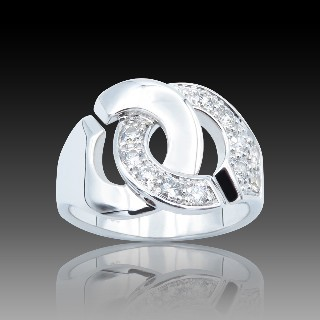 Bague Dinh Van Menottes R12  Grand modèle Or Gris 18 k et diamants .