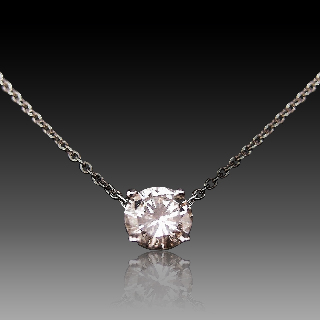 Collier Pendentif Diamant de 1.20 Cts H-SI2 . Or 18 Cts.