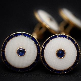 Boutons de Manchettes en or 18k et Lapis Lazuli.