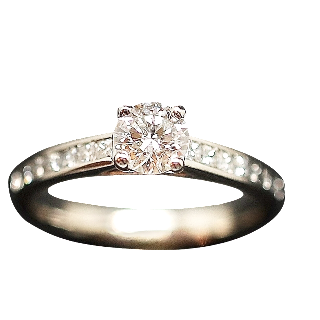 Solitaire Diamant brillant 0.50 Cts G-SI en Or 18 Cts + 0.35 Cts.