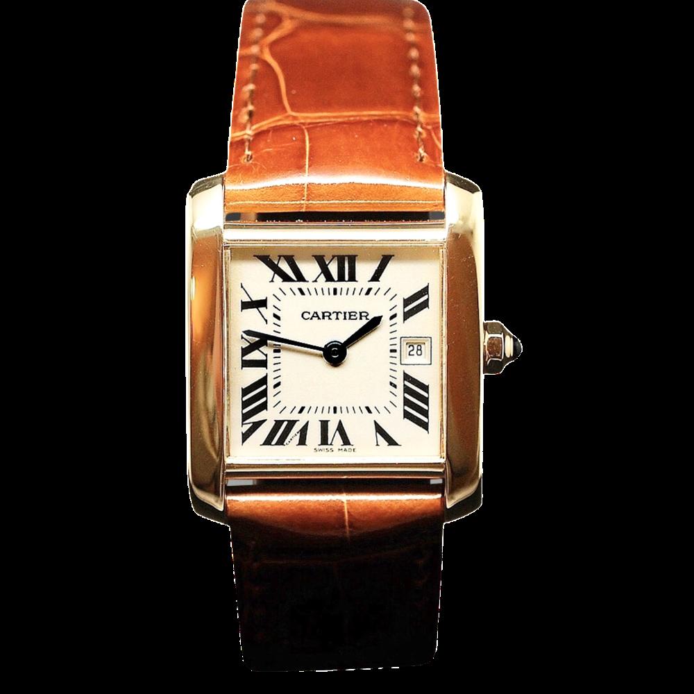 Montre Cartier Tank Française Médium Or jaune 18k Quartz Vers 2010.