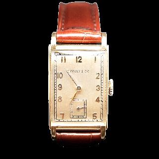 Montre Tiffany & Co Vintage Or 18k Rectangulaire Vers 1940 . Mécanique.