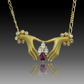 """Collier Pendentif """"Cellini"""" New York or jaune 18k rubis et diamants"""