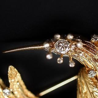 """Broche """"Oiseau du Paradis"""" Or 18k massif avec Diamants Vers 1965."""