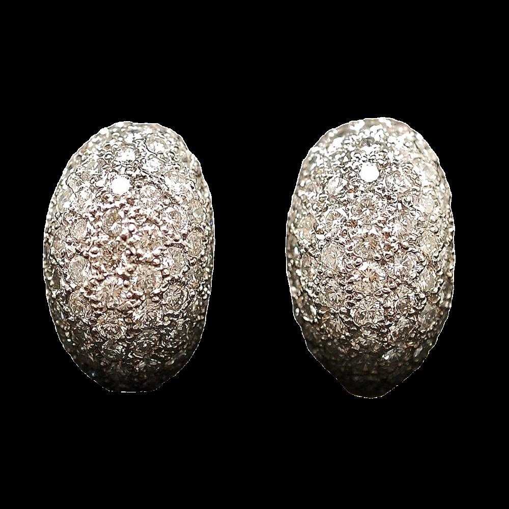 Boucles d'oreilles Diamants 4,90 Cts G-VS en Or Gris 18k
