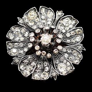 Broche en Or 18 Cts et Argent avec Diamants. Vers 1850