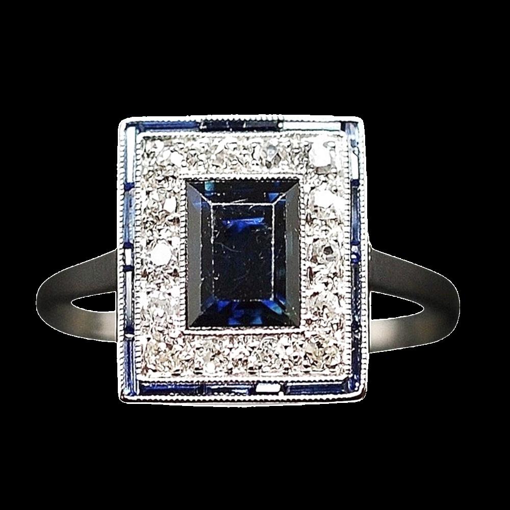 Bague en Platine Art Déco avec saphir fins  et diamants Taille 51-52