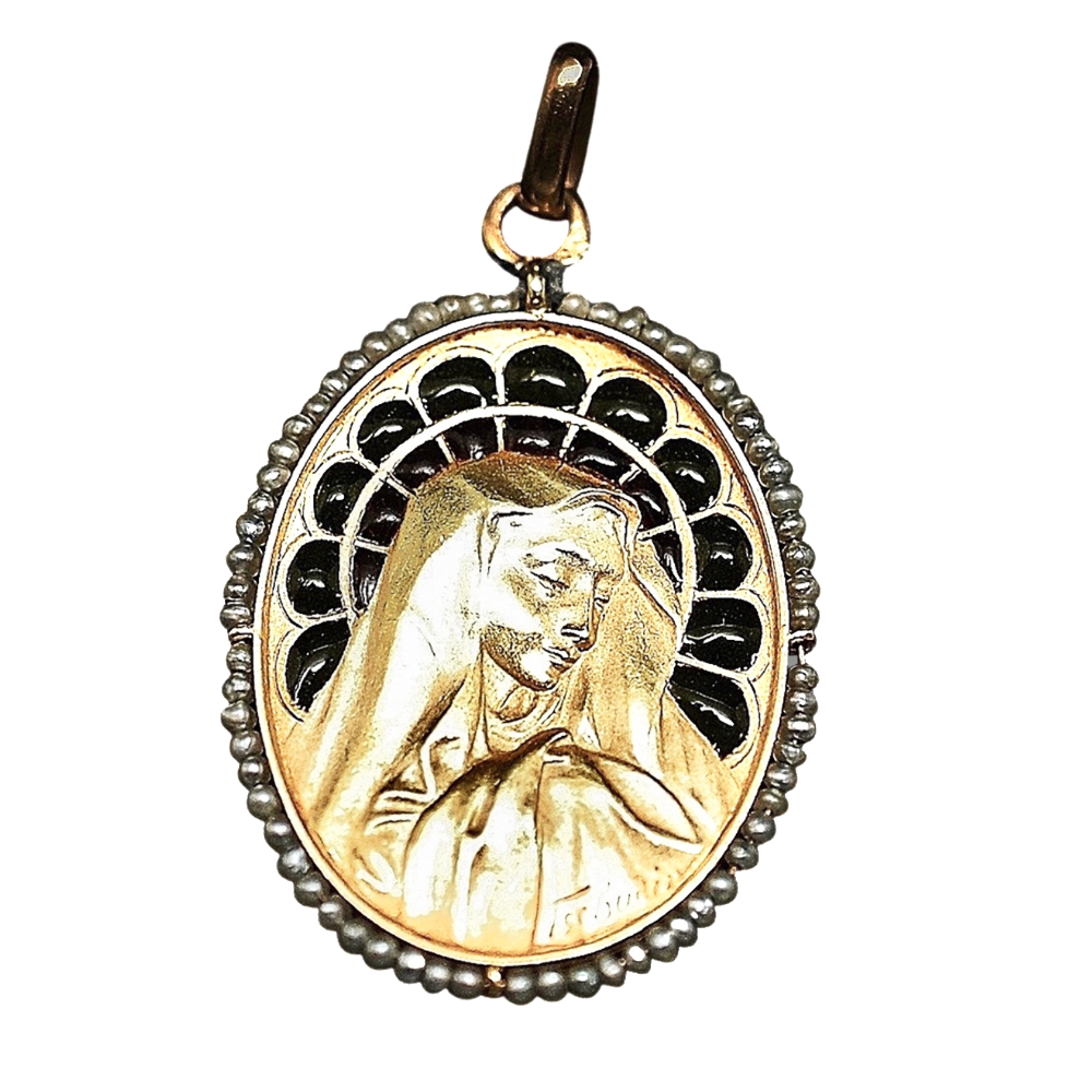 Médaille Art Nouveau de la vierge Email et Perles fines en or jaune 18k.
