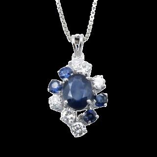 Collier Pendentif Or Gris 18k avec Diamants et Saphirs