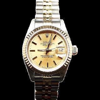 Montre Rolex Oyster Datejust Dame en Or & Acier de 1991. Cadran jaune. Ref : 69173 .
