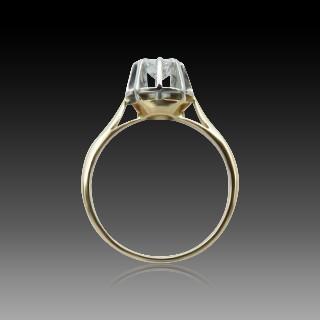 Solitaire or rose 18k et platine vers 1930 avec diamant de 0.45 cts H-SI2