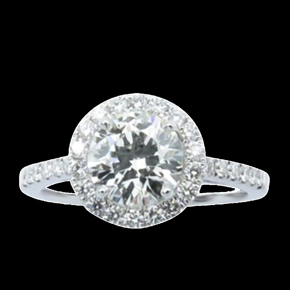 Solitaire en Or gris 18 Cts avec Diamant brillant 1,15 Cts G-VVS2 + 0,34 Cts