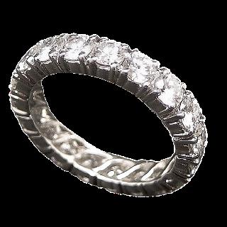 Alliance or gris 18k avec 2.30 Cts de Diamants Brillants F-VS. Taille 51.