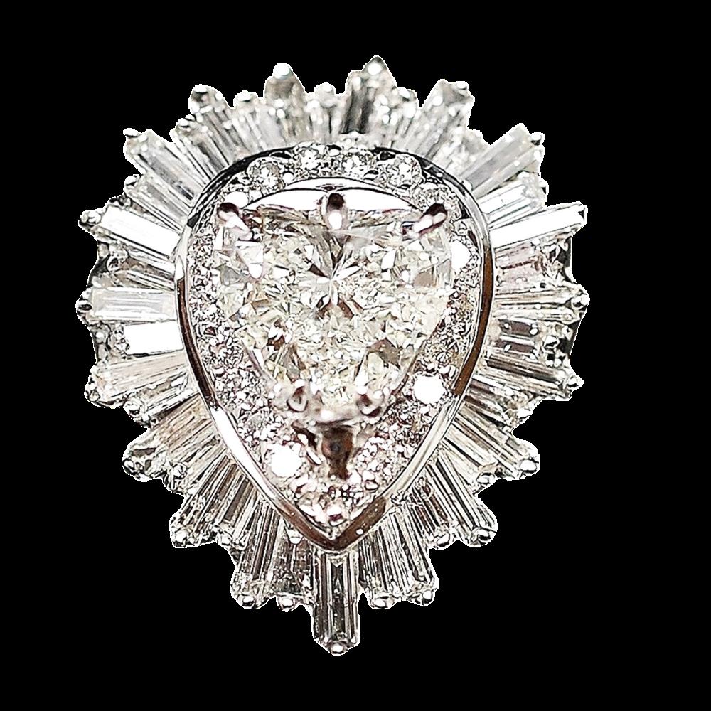 Solitaire Diamant coeur 2.12 Ct Qualité G-SI2 Or Gris 18K + 3.0 Carat G-SI.
